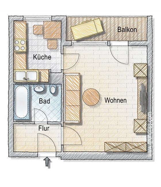 1-Raum-Wohnung Grundriss